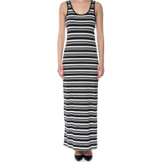 Rochie Lunga Bumbac Only Abbie Oneck Black Stripes And Cloud Dancer