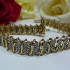 Bratara din aur de 10k cu diamante - Bratara aur, Carataj aur: 9K, Culoare Aur: Galben