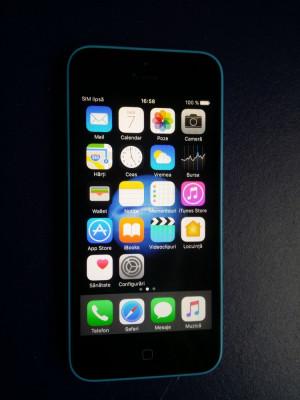 Iphone 5C NECODAT Orange Albastru 8 GB Stare Buna IOS 10.3.3 + incarcator +cablu foto