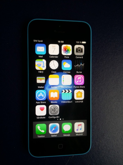 Iphone 5C NECODAT Orange Albastru 8 GB Stare Buna IOS 10.3.3 + incarcator +cablu foto mare
