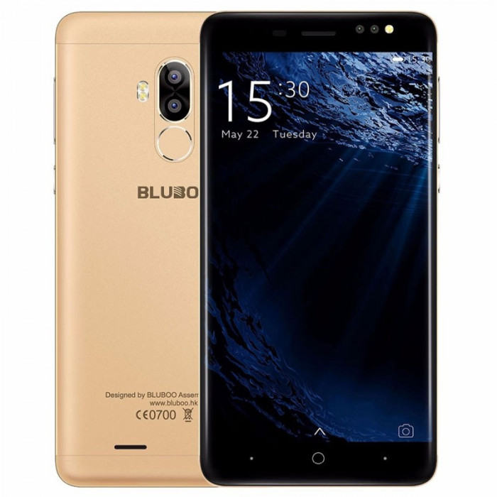 Bluboo D1, Dual SIM, 3G, Quad-Core, 2GB RAM, 16GB, Amprenta, Android 7.0, Gold foto mare