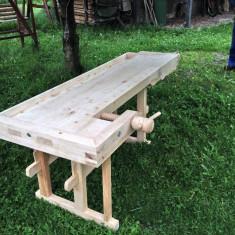Banc/masa de lucru din lemn, cu doua menghine
