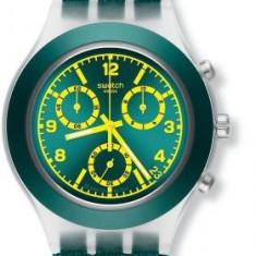 Swatch Coleslaw Chronograph Teal Plastic Mens Watch SVCK4070 Produs la comanda [TEST TEXT] - Ceas barbatesc Swatch, Casual