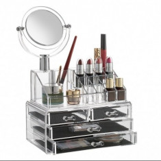 Organizator cosmetice cu oglinda  - Geanta cosmetice