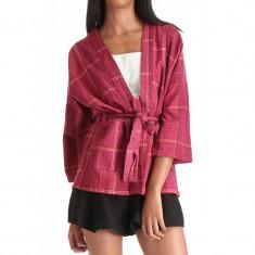 Kimono Scurt Dama Vila Winther Check Cabernet - Pulover dama Vila, Marime: XS, S, M, L, Culoare: Rosu