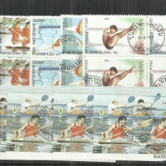 LAOS LOT 4 SERII +4 COLITE SPORT - Timbre straine, Stampilat