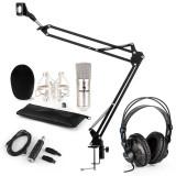 Auna CM001S, set microfon, casti V3, microfon cu condensator, argintiu