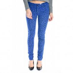 Pantaloni Lungi Bumbac Vero Moda Flash Animal Blue - Pantaloni dama Vero Moda, Marime: 25, 26, 27, 28, 29, 31, Culoare: Albastru