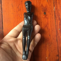 ARTA AFRICANA CRESTINA - ISUS negru din pacate fara maini / lemn exotic !