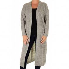 Cardigan Lung Vero Moda Francie Copenhagen Light Grey Melange - Pulover dama Vero Moda, Marime: S, M, L, Culoare: Gri