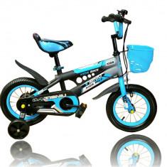 Bicicleta cu roti ajutatoare, aparatoare lant si cos pentru baieti - Bicicleta copii, 12 inch, Numar viteze: 1