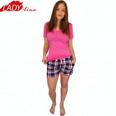 Pijama Dama Maneca/Pantalon Scurt, Brand Nicoletta, Beauty Sensitivity, Cod 1292 - Pijamale dama, Marime: S, M, L, Culoare: Roz