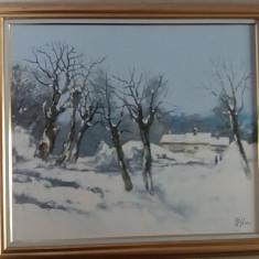 Pictura, Nicolae BLEI, Iarna la Hotarele, ulei/p, 80x90cm/cu rama, Stare PERFECTA - Pictor roman, Natura, Impresionism