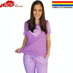Pijama Dama cu Pantalon 3/4, Fabricat in Romania, Purple & Sweet Dots, Cod 1287, L, S, Mov