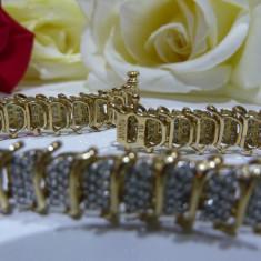 Bratara aur 10k cu diamante, Carataj aur: 9K, Culoare Aur: Galben