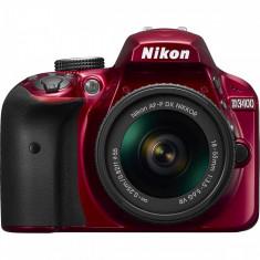 Aparat foto DSLR Nikon D3400, 3 inch, 24.2 MP, cu obiectiv AF-P 18-55mm VR, rosu