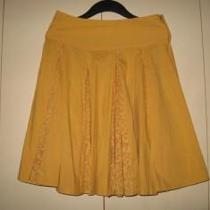 Fusta galben- mustar Pirata Mar 40, Culoare: Din imagine, Midi, Larga, Bumbac