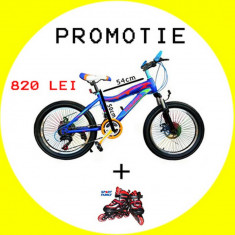 Bicicleta Sport cu 18 viteze si frana pe disc pentru copii intre 7 si 12 ani - Bicicleta BMX, 20 inch, Numar viteze: 21