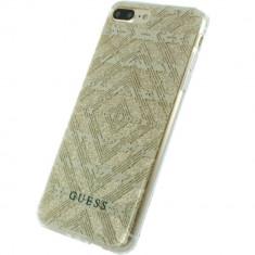 Husa Protectie Spate Guess GUHCP7LTGGBE Tribal 3D Effect Bej pentru Apple iPhone 7 Plus - Husa Telefon