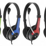 Casti ESPERANZA Rooster EH158R stereo, cu microfon, negru/ rosu - Casca PC