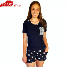 Pijama Dama Maneca/Pantalon Scurt, Nicoletta, Model NYC-Brooklyn, Cod 1304 - Pijamale dama, Marime: S, XL, Culoare: Negru