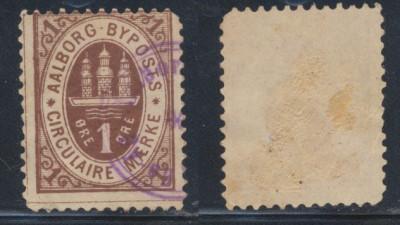 Danemarca timbru local AAlborg din secolul XIX stampilat foto