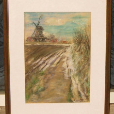 Tablou Peisaj cu moara pictura pastel inramata 44x56cm - Pictor strain, An: 1981, Portrete, Acuarela, Abstract