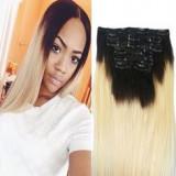 Extensii 100% par natural clip on ombre negru- blond deschis - Extensii par