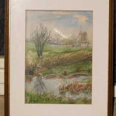 Peisaj cu moara de vant tablou pictat pastel inramat 44x56cm - Pictor strain, Peisaje, Realism