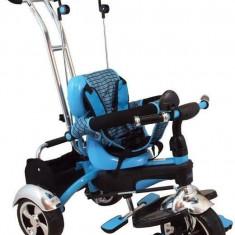 Tricicleta multifunctionala Happy Days - Albastru - Tricicleta copii Baby Mix