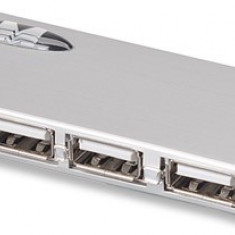 Manhattan Hub USB subtire, 4 porturi, USB 2.0 + adaptor de curent