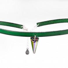 Choker snur piele cu cristal Swarovski Spike - Wild Green - Colier Swarovski