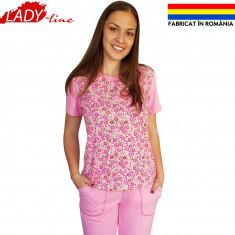 Pijama Dama cu Pantalon 3/4, Fabricat in Romania, Pink Fields, Cod 1286