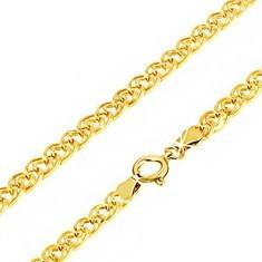 Lanț aur galben 14K - zale eliptice mici și mari întrepătrunse, 550 mm - Lantisor aur