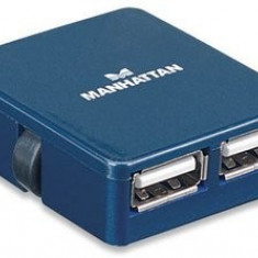 Manhattan Hub USB Manhattan Micro Hub, 4 porturi, Albastru