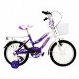 JUNIOR – Bicicleta cu roti ajutatoare pentru fete intre 4 si 8 ani - Bicicleta BMX, 16 inch, Numar viteze: 1