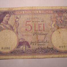 5 lei 1917 August - Bancnota romaneasca