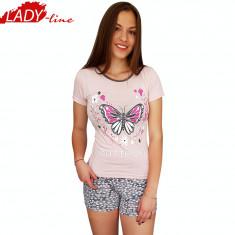 Pijama Dama Maneca/Pantalon Scurt, Moda Love Homewear, Butterfly, Cod 1296