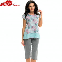 Pijama Dama cu Pantalon 3/4, DN Nightwear, Model Love Of Nature, Cod 1258 - Pijamale dama, Marime: S, Culoare: Verde
