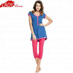 Pijama Dama Maneca Scurta/Colant 3/4, Pijama Gravida si Alaptat, Cod 1061 - Pijamale dama, Marime: L, Culoare: Albastru