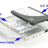 12.7mm Sata-Sata 2nd HDD, caddy SSD / HDD, adaptor rack SSD / HDD. - Suport laptop