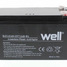 WELL Acumulator plumb acid 12V 7.2AH, Well - UPS