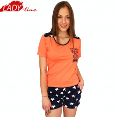 Pijama Dama Maneca/Pantalon Scurt, Nicoletta, Model NYC-Brooklyn, Cod 1300 - Pijamale dama, Marime: S, L, Culoare: Orange