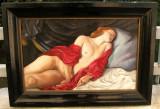 Nud in iatac tablou pictat in ulei pe panza 55x76cm, Realism