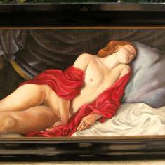 Nud in iatac tablou pictat in ulei pe panza 55x76cm - Tablou autor neidentificat, Realism