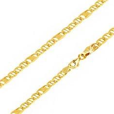 Lanț aur 14K - ochiuri ovale cu pivot, za cu plasă, 500 mm - Lantisor aur