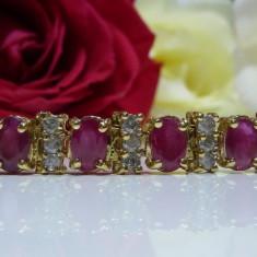 Bratara aur 14k cu diamante si rubine, Culoare Aur: Galben