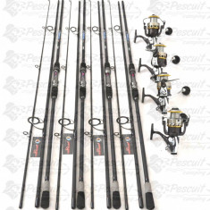 SET 4 Lansete Carbon 3, 9m CU 4 MULINETE G6500 CU 11 RULM SI BAIT RUNNER - Set pescuit