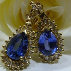 Cercei aur 14k cu diamante si safire - Cercei cu diamante