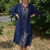 Rochie din dantela cu cardigan din voal fin, transparent, bleumarin (Culoare: BLEUMARIN, Marime: 54) - Rochie de seara